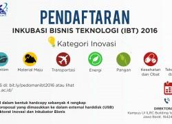 Pendaftaran Inkubasi Bisnis Teknologi 2016
