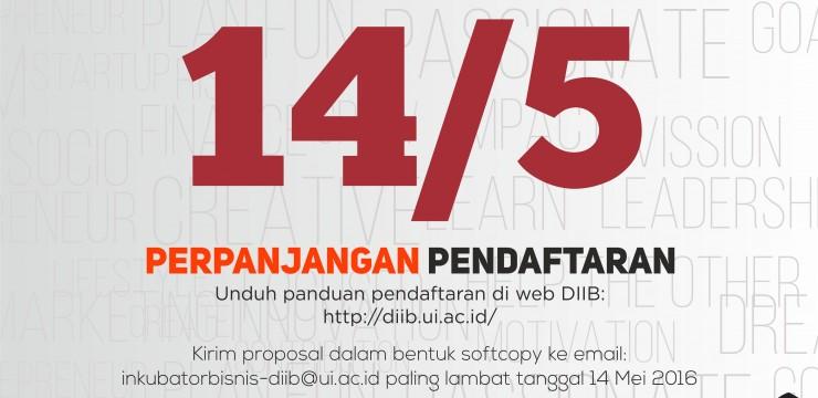 Perpanjangan Pendaftaran UI INCUBATE 2016